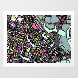 Abstract Map - Somerville MA Art Print