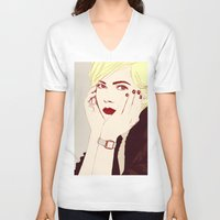 hayley williams V-neck T-shirts featuring Michelle Williams by Eleonora Teloni