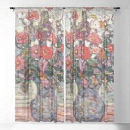 """Maurice Prendergast """"Flowers in a Vase (Zinnias)"""" Sheer Curtain"""
