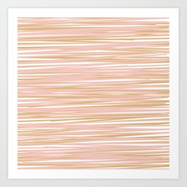 Horizontal Lines in Blush and Gold Art Print