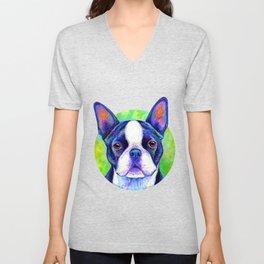 Effervescent - Colorful Boston Terrier Dog Unisex V-Neck