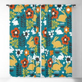 Whimsical bunny garden Blackout Curtain