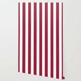 Vivid burgundy violet - solid color - white vertical lines pattern Wallpaper