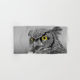 Contemporary Black & White Great Horned Owl Bird Yellow eye Art A515 Hand & Bath Towel