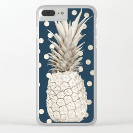 Gold Pineapple Polka Dots 2 Clear iPhone Case