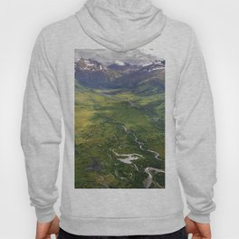 Image Nature Alaska USA Bing mountain landscape photography Rivers From above Mountains Scenery river Hoody