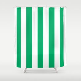 GO green - solid color - white vertical lines pattern Shower Curtain