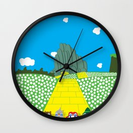 Pengwins that are following a brick road that is yellow Wall Clock