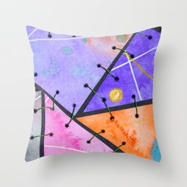 Frankienstein Sewing Abstract Art Watercolour and Metal Throw Pillow