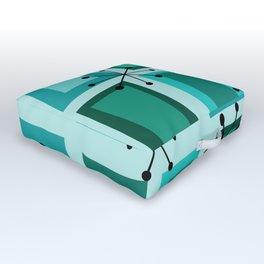 Mid Century Modern Art 'Wonky Doors' Turquoise Teal Outdoor Floor Cushion
