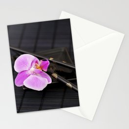 Zen pink Orchid flower on black Stationery Cards