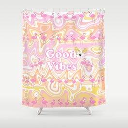 Good Vibes Beach Flamingos Shower Curtain