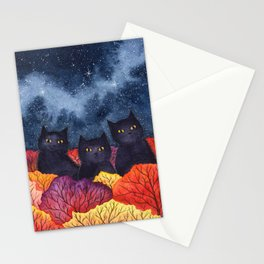 Three Black Cats in Autumn Watercolor Stationery Cards