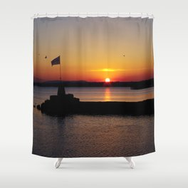 A beautiful sunset view of Lough Neagh Shower Curtain