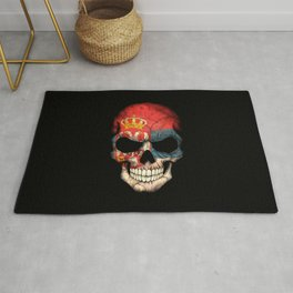 Dark Skull with Flag of Serbia Rug