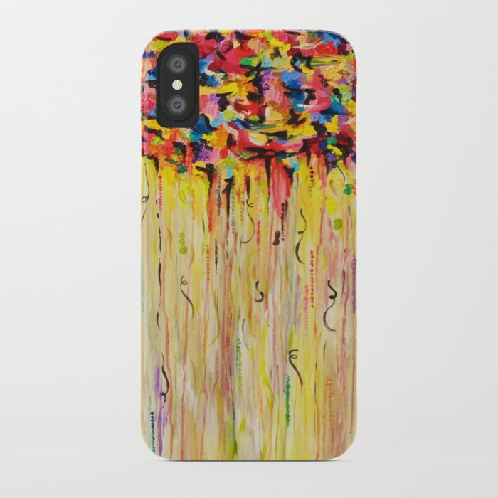 OPPOSITES LOVE Raining Sunshine - Bold Bright Sunny Colorful Rain Storm Abstract Acrylic Painting iPhone Case