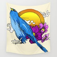 pigeon Wall Tapestries featuring Pigeon by happytunacreative
