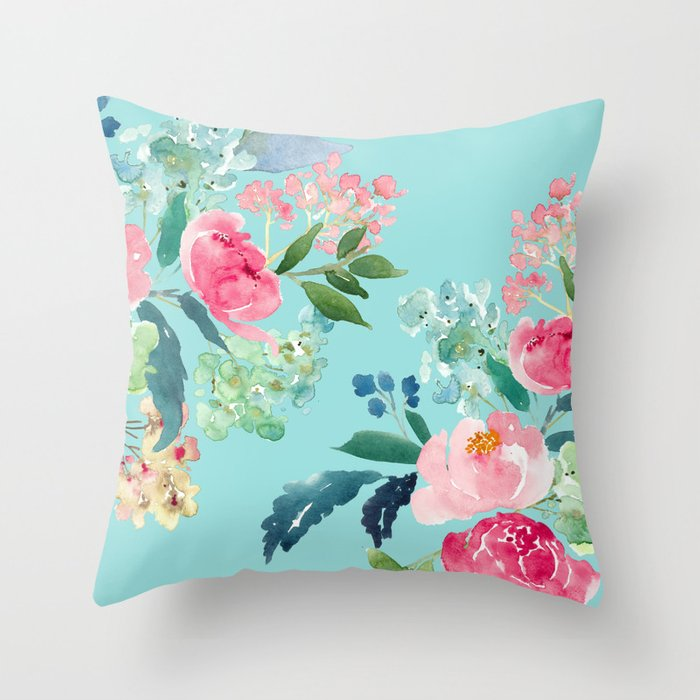 Aqua Blue Watercolor Pink Flowers Throw Pillow By