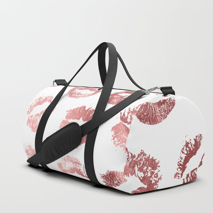 Girly fashion lips rose gold lipstick pattern duffle bag jpg 700x700 Small duffle  bag girly pictures 6bb1f729a0