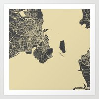copenhagen Art Prints featuring Copenhagen by Map Map Maps