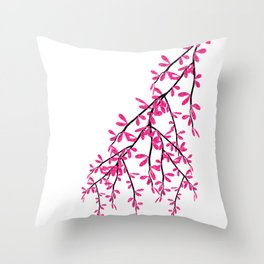 Pink Tree Branch Throw Pillow