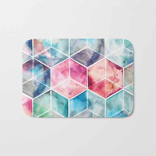 Translucent Watercolor Hexagon Cubes Bath Mat