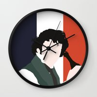 grantaire Wall Clocks featuring GRANTAIRE – LES MISÉRABLES by K. Frank