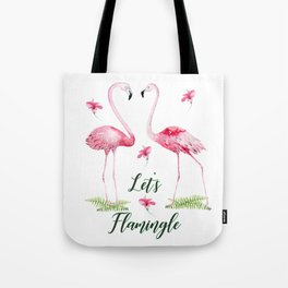 Let's Flamingle Watercolor Flamingo Flowers and Leaves Tote Bag