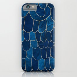 Stratosphere Sapphire // Abstract Blue Flowing Gradient Gold Foil Cloud Lining Water Color Decor iPhone Case