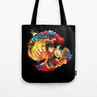 luffy Tote Bags featuring Luffy Attack by feimyconcepts05