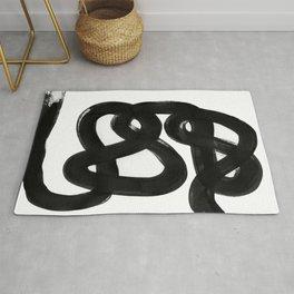Knots Black & White Minimalist Ink Tribal Mid Century Pattern Dark Painting Pattern Rug