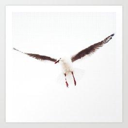 White Seagull Halftone Design Art Print