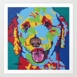 Labradoodle or Goldendoodle Pop Art Dog Pet Portrait Art Print
