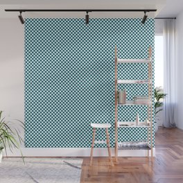 Dark Quetzal Blue Green and White Mini Check 2018 Color Trends Wall Mural