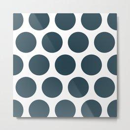 Large Polka Dots: Dark Blue Metal Print