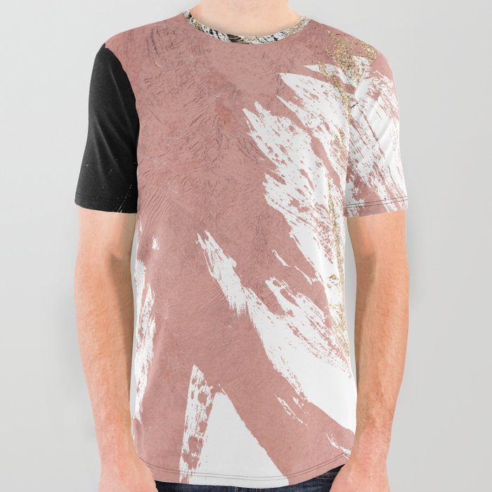 5d88be414b7b Giant Artsy Brushstrokes in Gold Rose Gold Glitter All Over Graphic Tee
