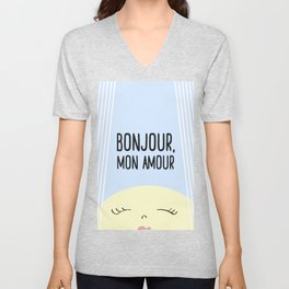 Bonjour Mon Amour #childrensroom #baby #babyshower #illustration #gift #home #decor #sun #pastel #de Unisex V-Neck