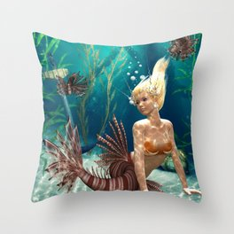 Lionfish Mermaid Throw Pillow