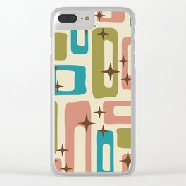 Retro Mid Century Modern Abstract Pattern 623 Olive Blue and Dusty Rose Clear iPhone Case