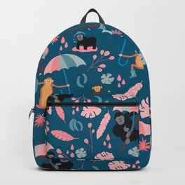 Monkeys in Rain Boots | Coral and Teal Backpack