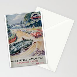 1954 Le Mans poster, Race poster, car poster, programme officiel Stationery Cards