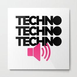 Techno Speaker Music Quote Metal Print