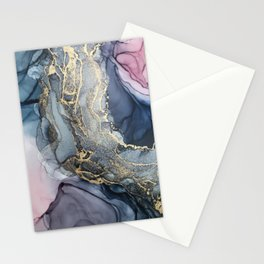 Blush, Payne's Gray and Gold Metallic Abstract Stationery Cards