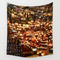 istanbul Wall Tapestries featuring Istanbul Lights by Simon Clare