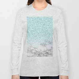 Pretty Turquoise Marble Sparkle Long Sleeve T-shirt