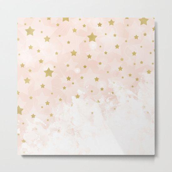 Gold stars on blush pink Metal Print