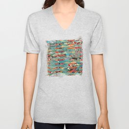 Goodbye Wave Abstract Art Collage Unisex V-Neck