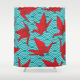 Origami Red Paper Cranes Sketch Burgundy Maroon Line Nature Oriental Shower Curtain China Curtains Society6