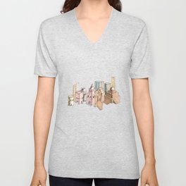 the city painted in pastel colours . illustration . art Unisex V-Neck