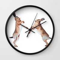 boxing Wall Clocks featuring Boxing Hares by ByKellyAttenborough
